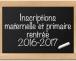 Inscriptions rentrée scolaire 2016-2017